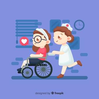 Infirmière dessinée à la main aidant le patient