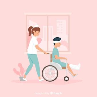Infirmière dessinée à la main au patient