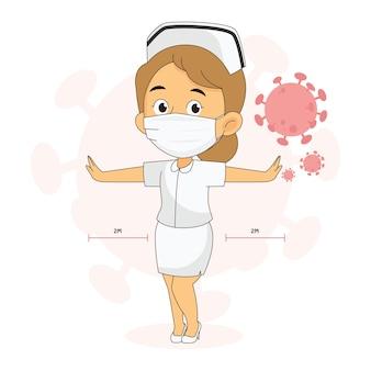 Une infirmière à distance sociale avec des masques protège le virus corona