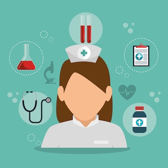 Infirmière avec équipement médical