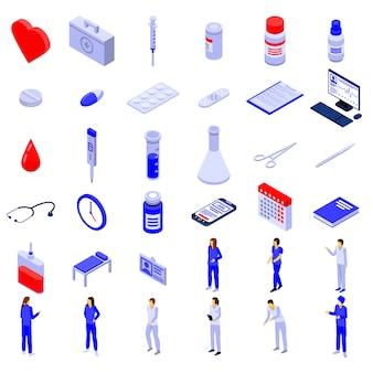 Infirmière icônes définies, style isométrique