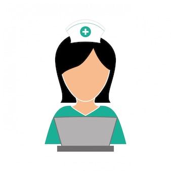 Infirmière en image icône ordinateur