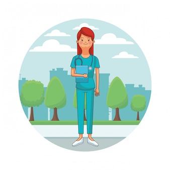 Infirmière isolée cityscape avatar icône ronde