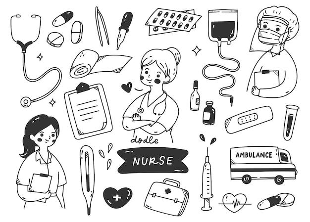 Infirmière et kits médicaux doodle