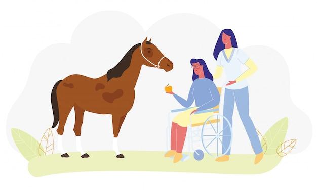Infirmière médicale assistée par un cheval en fauteuil roulant