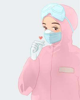 Infirmière mignonne en costume rose avec une belle pose