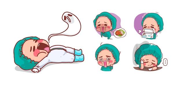Infirmière mignonne fatiguée et épuisement isolé sur fond blanc avec la conception des personnages.