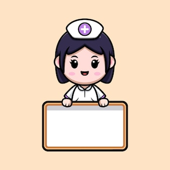 Infirmière mignonne avec illustration de personnage de dessin animé kawaii tableau blanc vierge