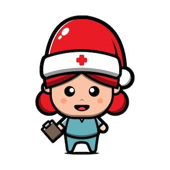 Infirmière mignonne portant illustration de dessin animé de chapeau de père noël. concept de noël