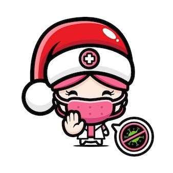 Infirmière mignonne portant un masque avec pose de virus d'arrêt