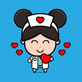 Infirmière mignonne tenant l'illustration de caractère de coeur