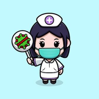 Infirmière mignonne tenant l'illustration de personnage de dessin animé kawaii de signe de virus d'arrêt