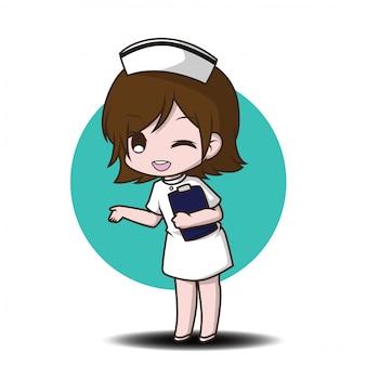 Infirmière de personnage de dessin animé mignon.