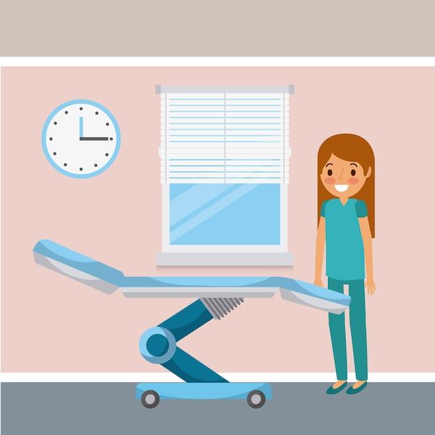 Infirmière personnel féminin chambre roue lit horloge et fenêtre