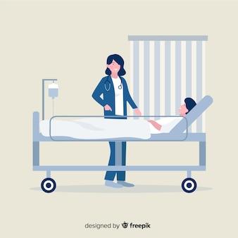 Infirmière plate avec patient