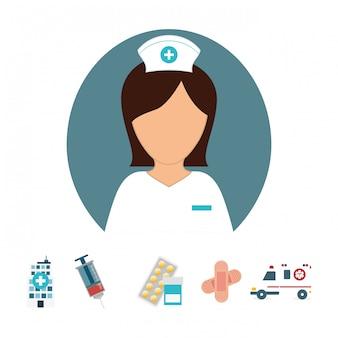 Infirmière avec produits de diagnostic icône image