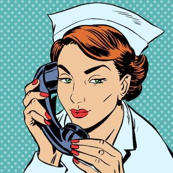 Infirmière, réception, bureau, conversation, téléphone