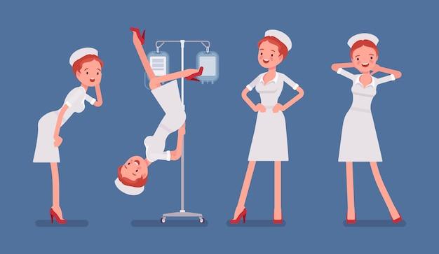 Infirmière sexy dans des poses provocantes