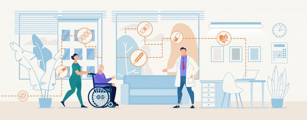 Infirmière en uniforme porte un vieil homme patient consultation en médecin en fauteuil roulant