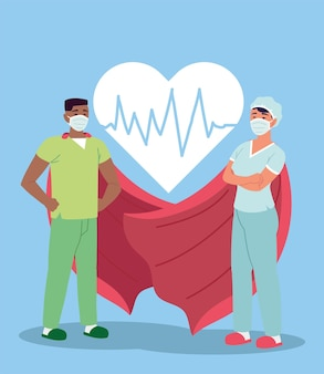 Infirmières héros avec des masques faciaux