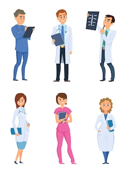 Infirmières et médecins. personnages de soins de santé dans des poses différentes