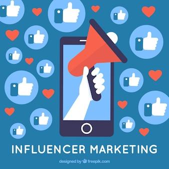 Influencer le concept marketing avec des likes