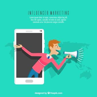Influencer le concept marketing avec l'homme dans le smartphone