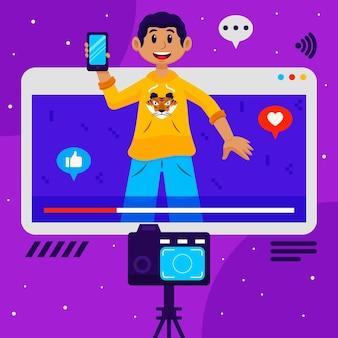Un influenceur enregistre une nouvelle illustration vidéo