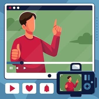 Un influenceur enregistre une nouvelle vidéo