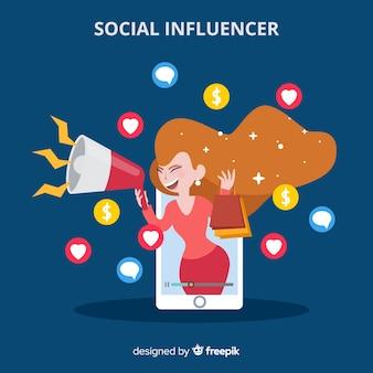 Influenceur social plat