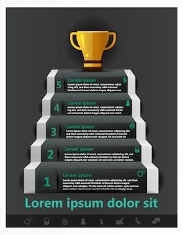 Info graphique startup business stair pour réussir la coupe d'or