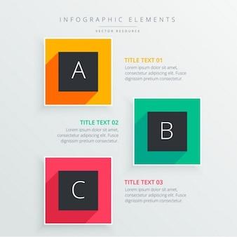 Infograph coloré de trois étapes avec ombre