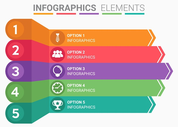 Infographics élément abstrait le numéro top modèle de liste cinq