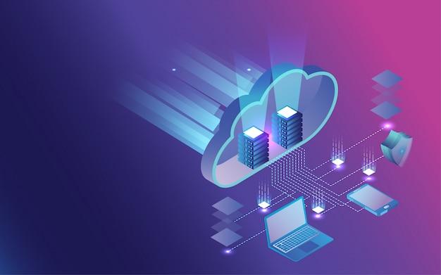 Infographie 3d du partage et de la protection des données.
