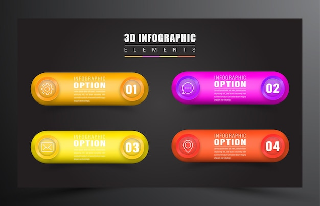 Infographie 3d avec élément de 4 couleurs