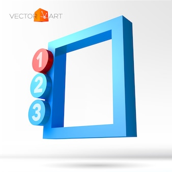 Infographie 3d frame avec options numérotées