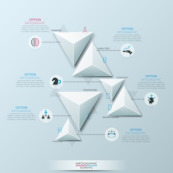 Infographie avec 6 éléments triangulaires en papier blanc séparés