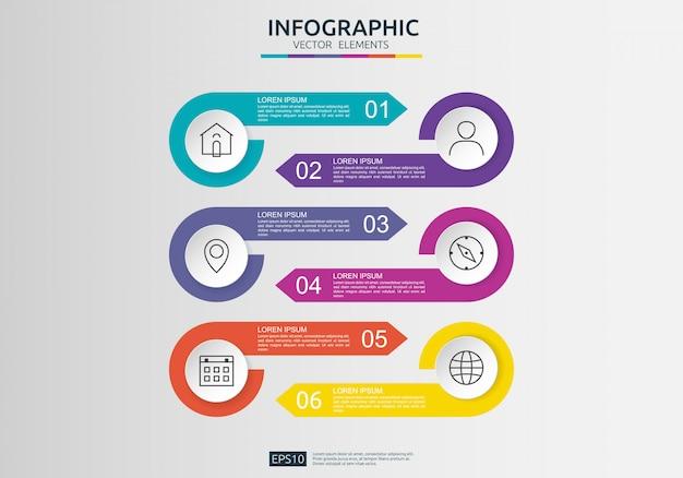 Infographie en 6 étapes. modèle de conception de chronologie avec étiquette en papier 3d