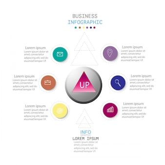 Infographie avec 6 étapes ou options, flux de travail, diagramme de processus
