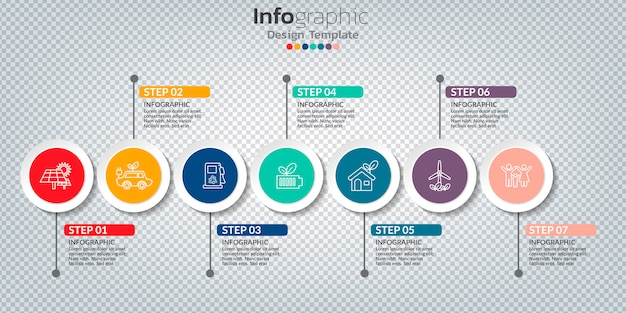 Infographie avec 7 options, étapes ou processus.