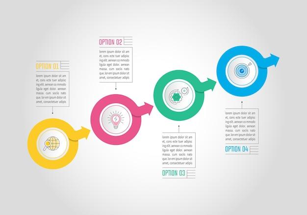 Infographie d'affaires avec 4 options