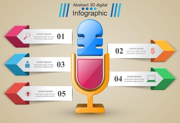 Infographie d'affaires. icône de microphone