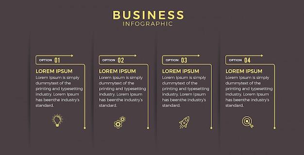 Infographie d'affaires icônes noires quatre options ou étapes