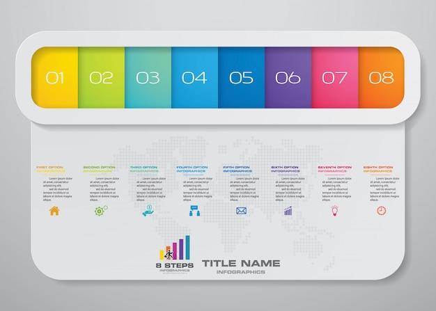 Infographie d'affaires moderne avec 8 options de présentation
