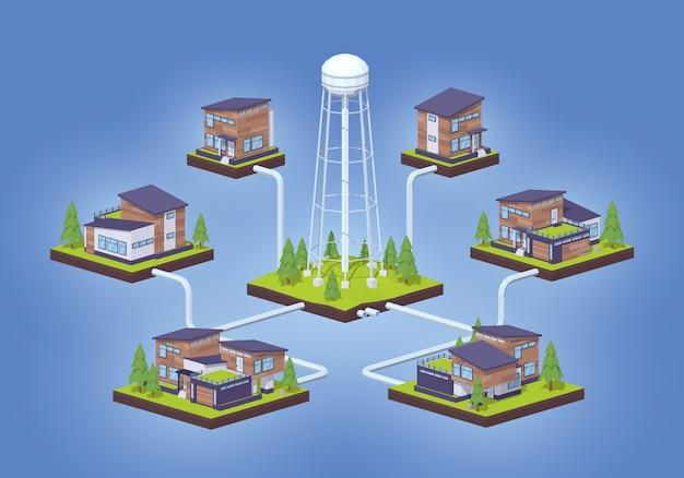 Infographie de l'alimentation en eau isométrique 3d lowpoly