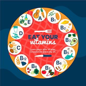 Infographie des aliments sains en vitamine