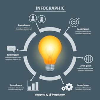 Infographie avec une ampoule au design plat