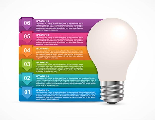 Infographie avec une ampoule.