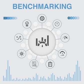 Infographie d'analyse comparative avec des icônes. contient des icônes telles que processus, gestion, indicateur