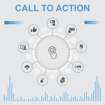 Infographie d'appel à l'action avec des icônes. contient des icônes telles que télécharger, cliquez ici, abonnez-vous, contactez-nous